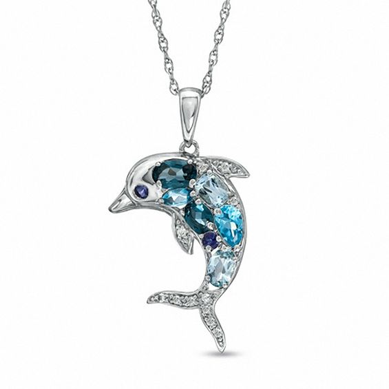 Blue Topaz, Iolite and Lab-Created White Sapphire Dolphin