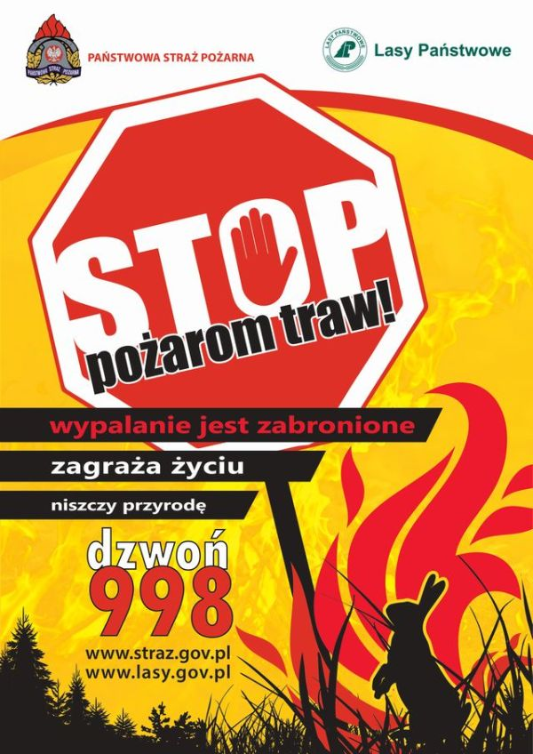 Plakat A3 ,,Stop pożarom traw''