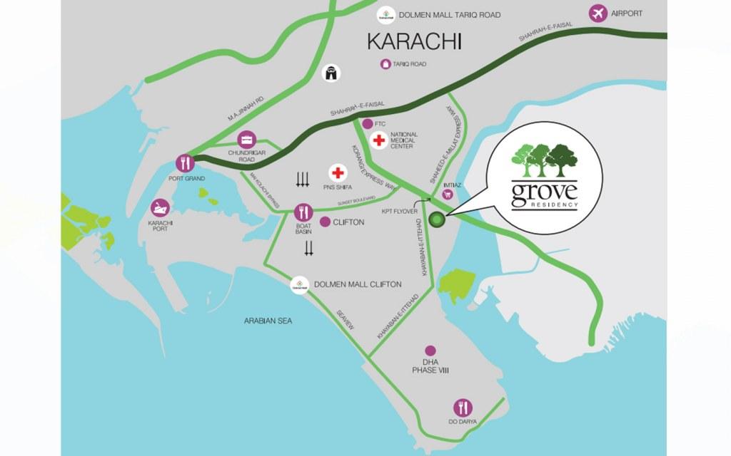Location of Grove Residency, Karachi