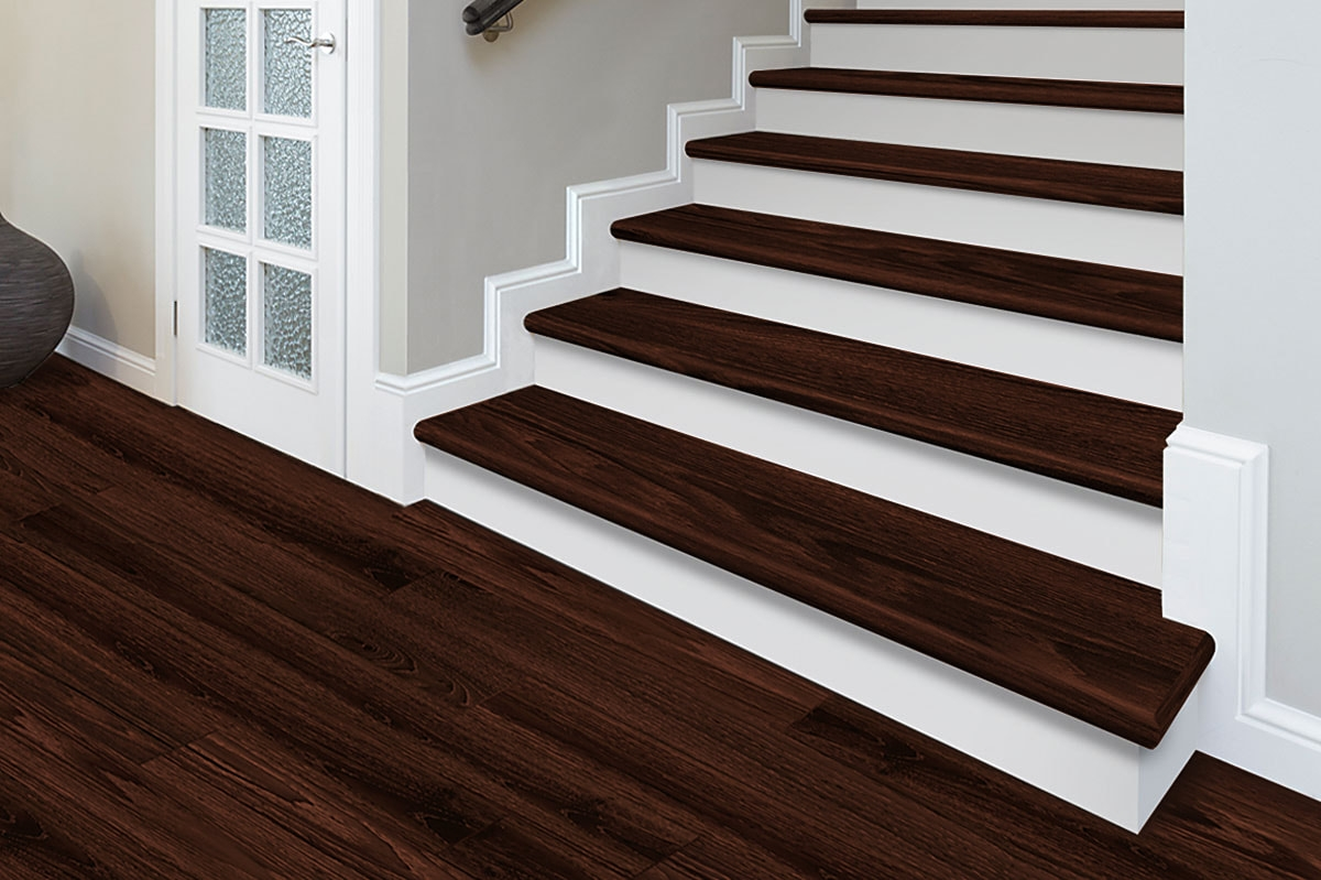 Zamma Corporation Custom Pre Finished Molding | Tile To Wood Stair Transition | Builder Grade | Upstairs | Residential | Laminate | Entryway