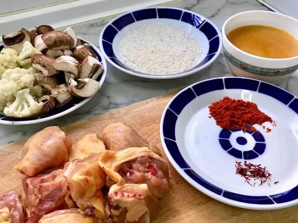 Ingredientes para paella de pollo