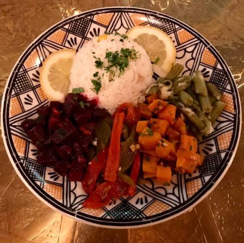 Verduras y arroz marroquí