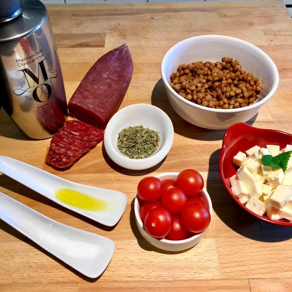 Ingredientes para hacer ensalada de lentejas