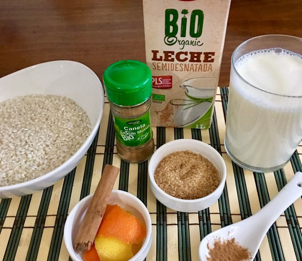 Ingredientes para cocinar arroz con leche