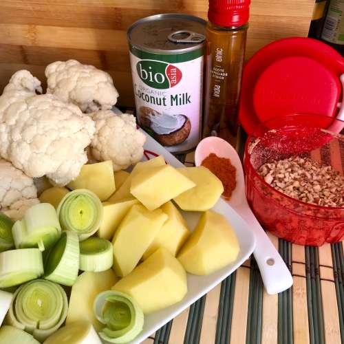 Ingredientes para hacer crema de coliflor