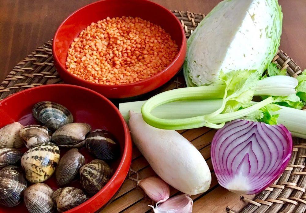 Ingredientes para preparar lentejas rojas