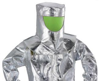 Cappuccio con visiera a specchio verde in tessuto aramidico alluminizzato anticalore