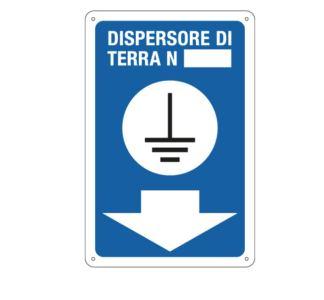 Targa: DISPERSORE DI TERRA N. + FRECCIA art. 7615