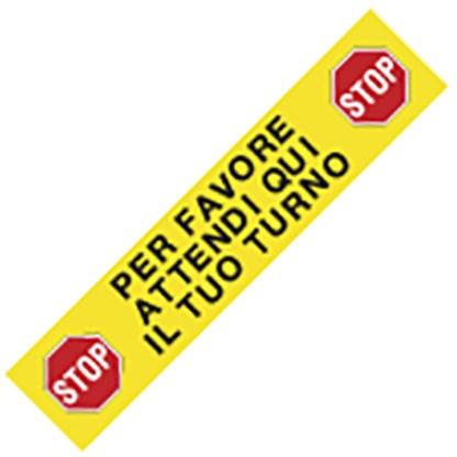 Adesivo da pavimento grosso PER FAVORE ATTENDI QUI IL TUO TURNO art. PP306