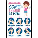 Targa: ISTRUZIONI COME LAVARE LE MANI (bambina) art. 35559