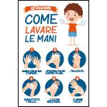 Targa: ISTRUZIONI COME LAVARE LA MANI (bambino) art. 35560