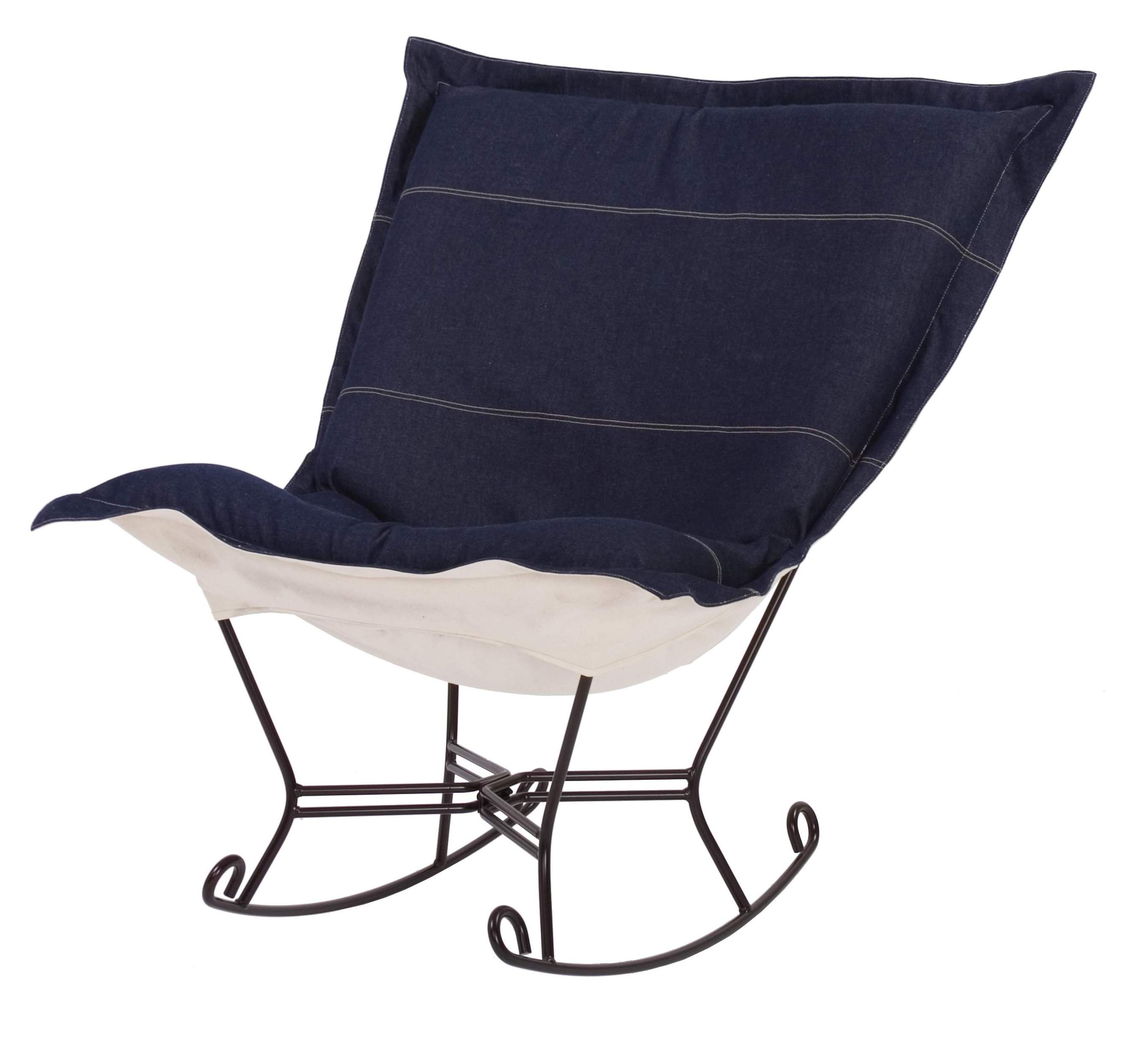 puff rocking chair replacement covers folding legs chicago textile rocker denim indigo
