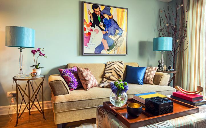 retro living room paint pictures interior design portfolio colorful wild