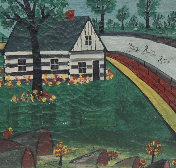 19th Century American Folk Art Painting Canvas