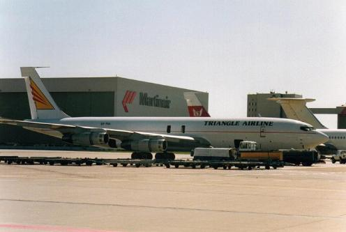 Triangle Airline, B707-3J6C, 5X-TRA, Schiphol-Oost AF, August. 1995