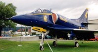 A-4F Skyhawk in colors of the Blue Angels, Navy stunt-team.