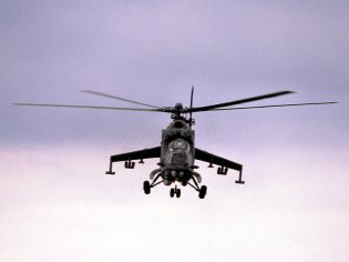 Front view of a Mil Mi-24V