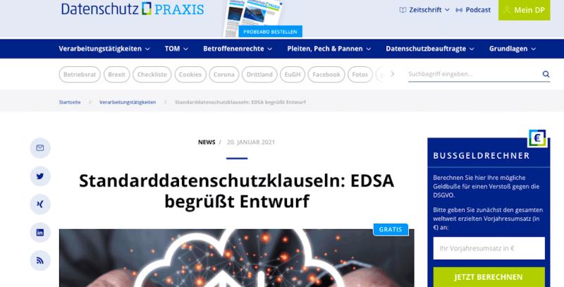 Screenshot von Datenschutz-Praxis, dem Informationsportal mit News zum Datenschutz
