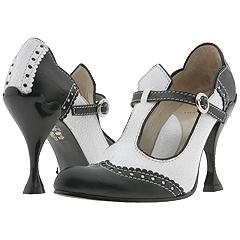 John Fluevog Harlow (Black/White Crackle) - Spectators Dress Shoes :  heels blackandwhite spectator