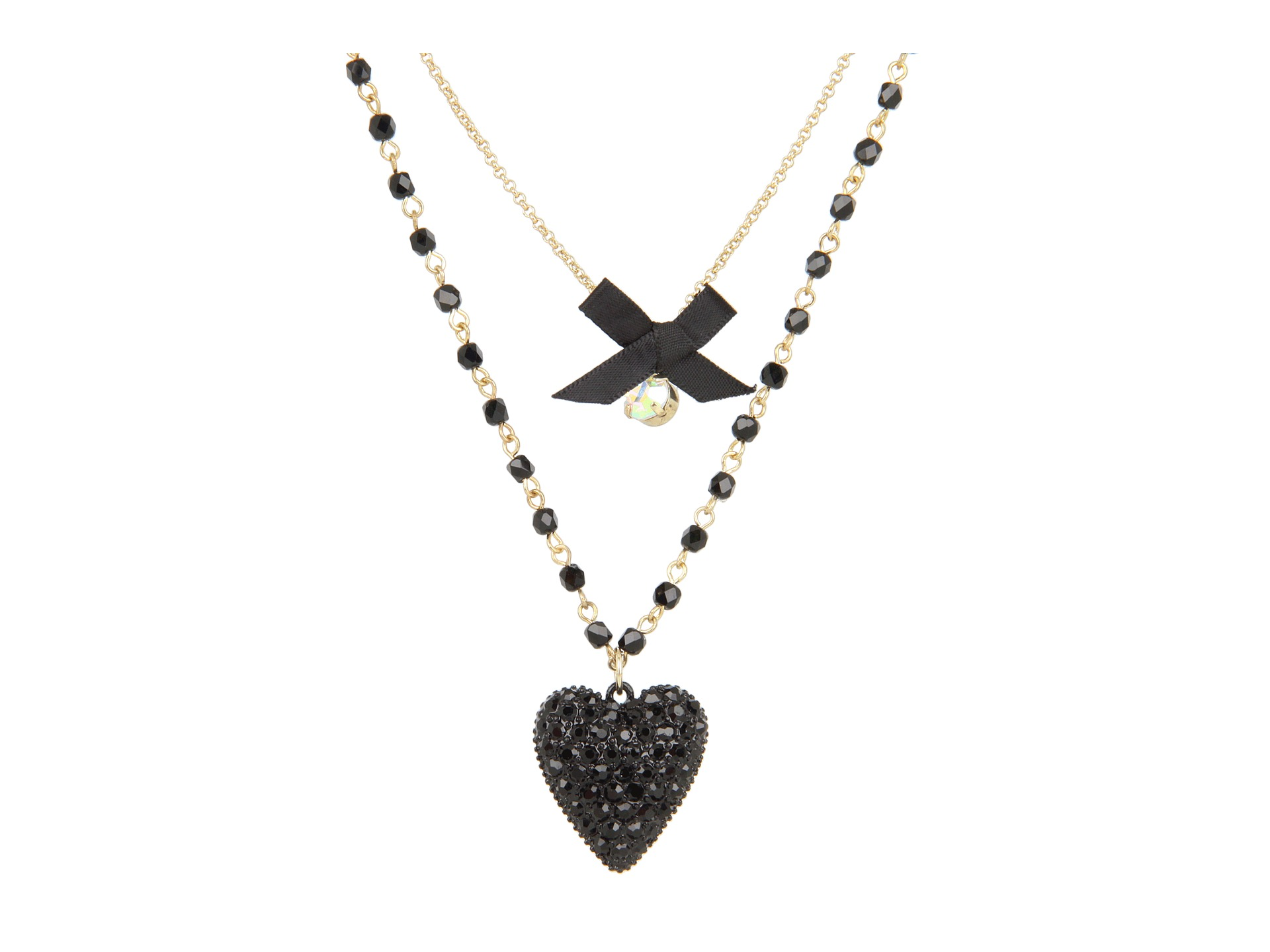Betsey Johnson Iconic Glitter Heart Two Row Necklace