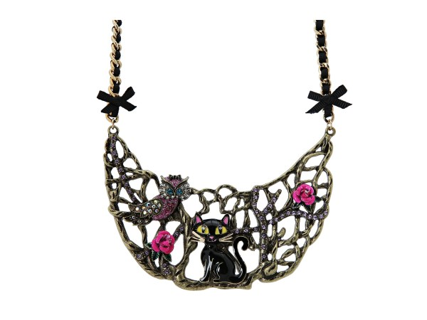 Betsey Johnson Enchanted Cat Owl Moon Necklace Pink