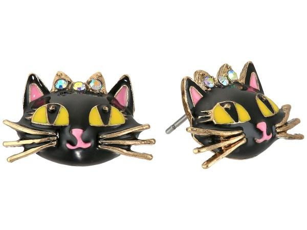 Betsey Johnson Enchanted Forest Cat Stud Earrings