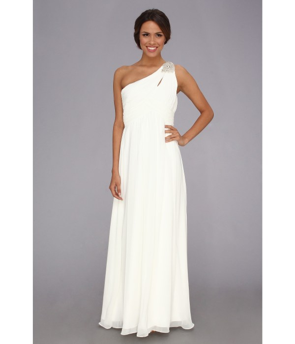 Calvin Klein Shoulder Gown Ivory Shipped Free Zappos