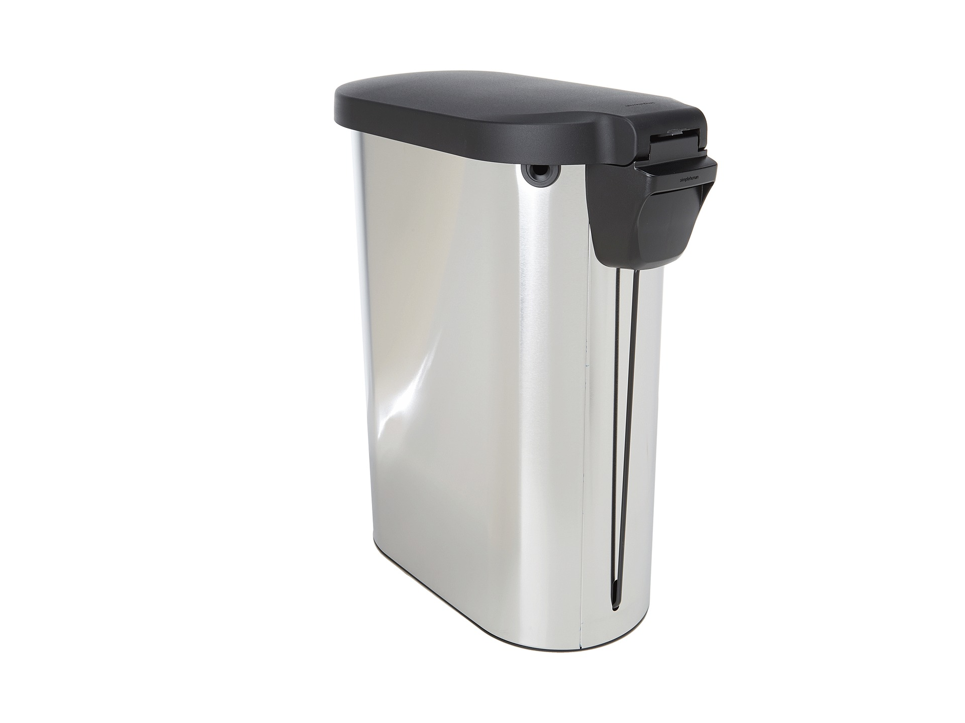 slim kitchen trash can home depot sinks stainless steel simplehuman 45l step w plastic lid