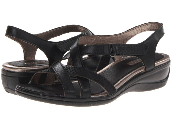 Ecco Sensata Cross Strap Sandal Black Feather Clodine - Free Shipping Ways