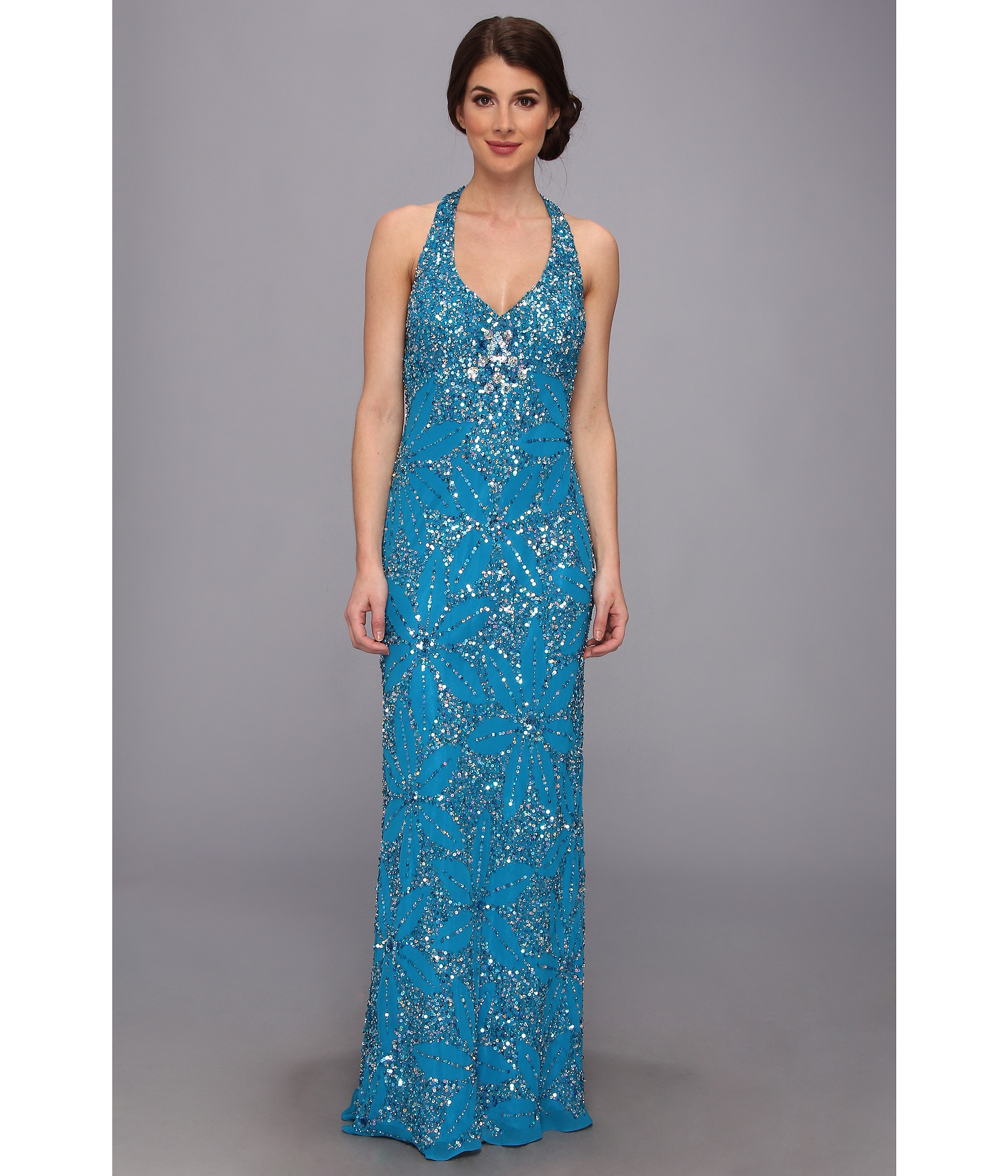 Adrianna Papell Dream Girls Bead Prom Gown Deep Periwinkle  Zapposcom Free Shipping BOTH Ways