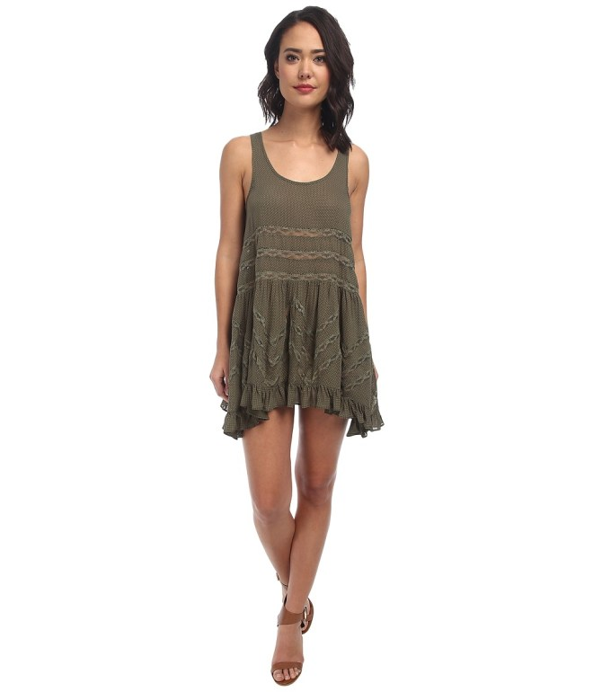 Free People Voile Trapeze Slip (True Olive Combo) Women's Sleeveless
