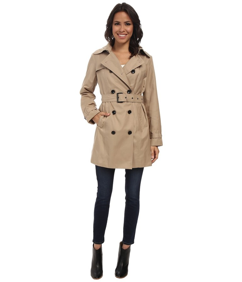 MICHAEL Michael Kors Trench Coat (Khaki) Women's Coat
