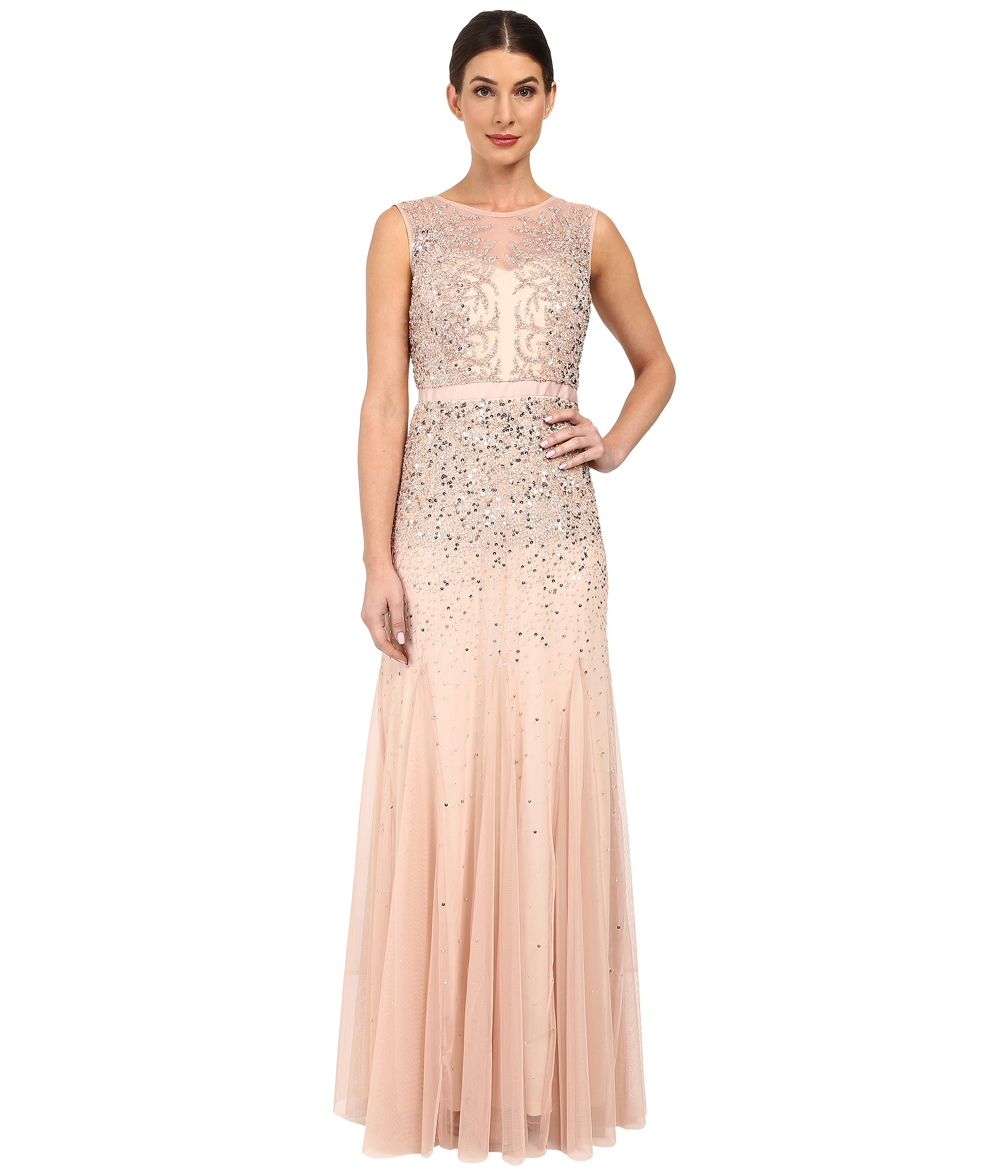 Adrianna Papell Beaded Illusion Gown Prom at Zapposcom