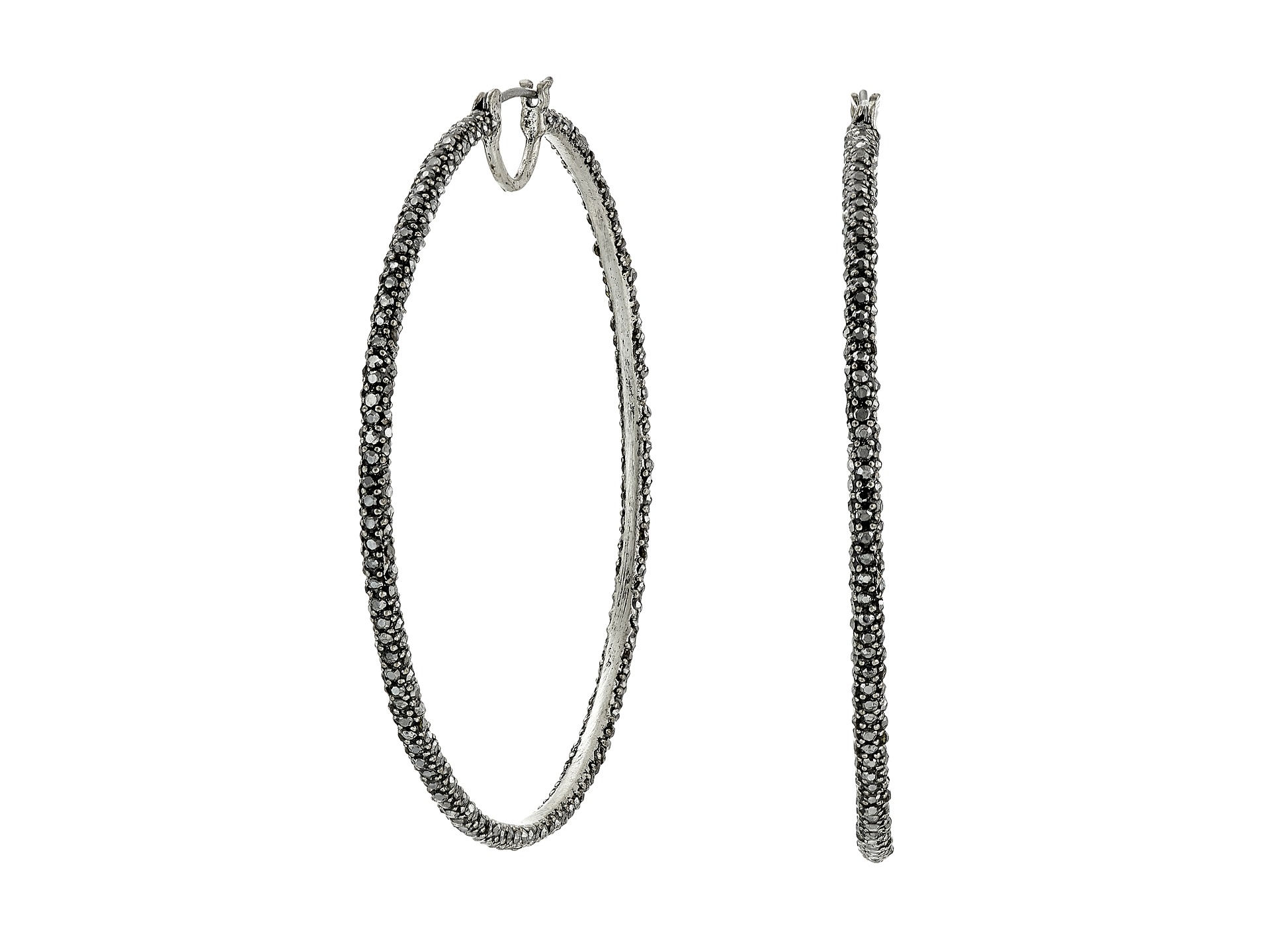 Lucky Brand Pave Big Hoop Earrings Silver