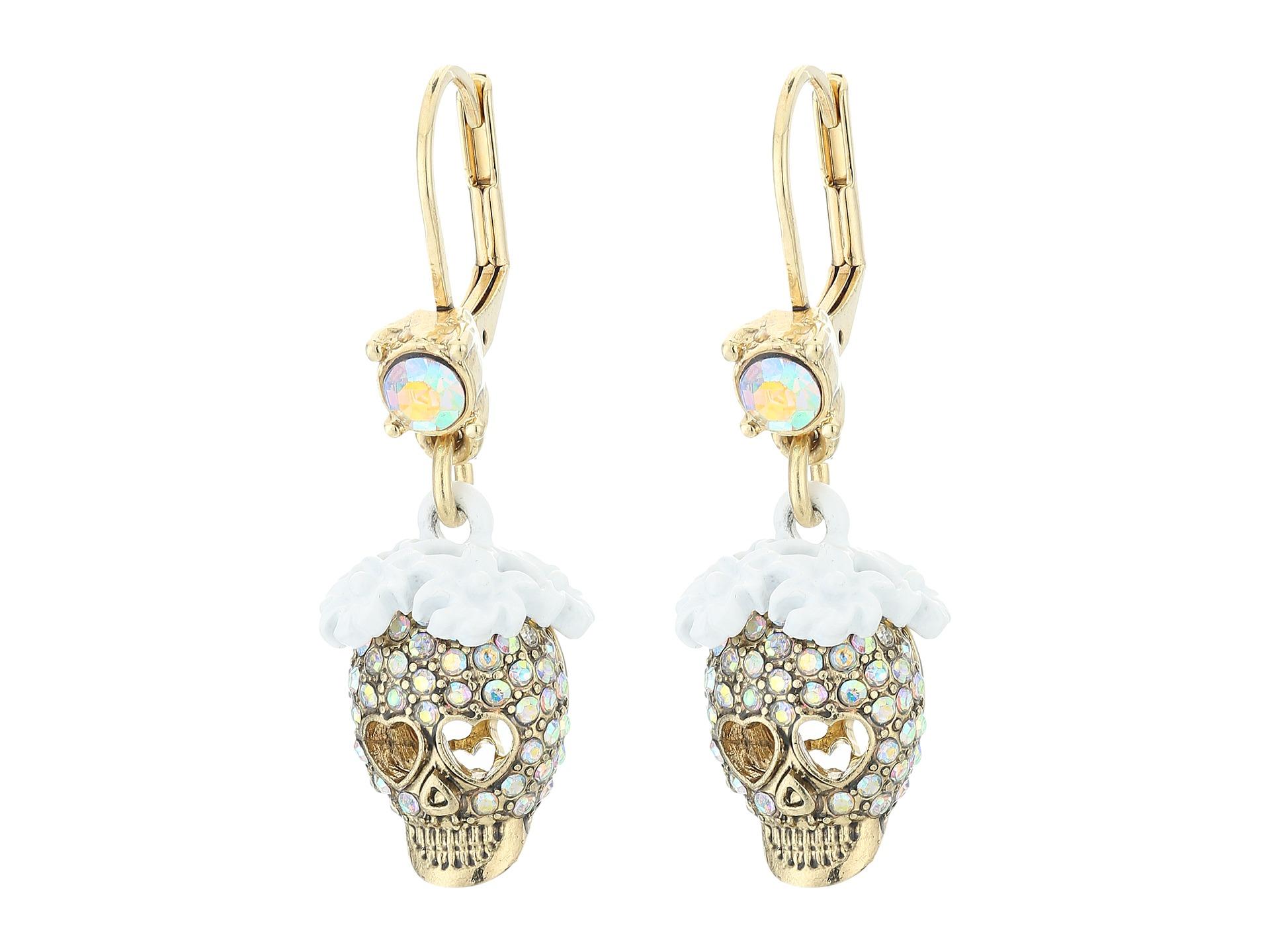 Betsey Johnson Dream of Betsey Skull Drop Earrings
