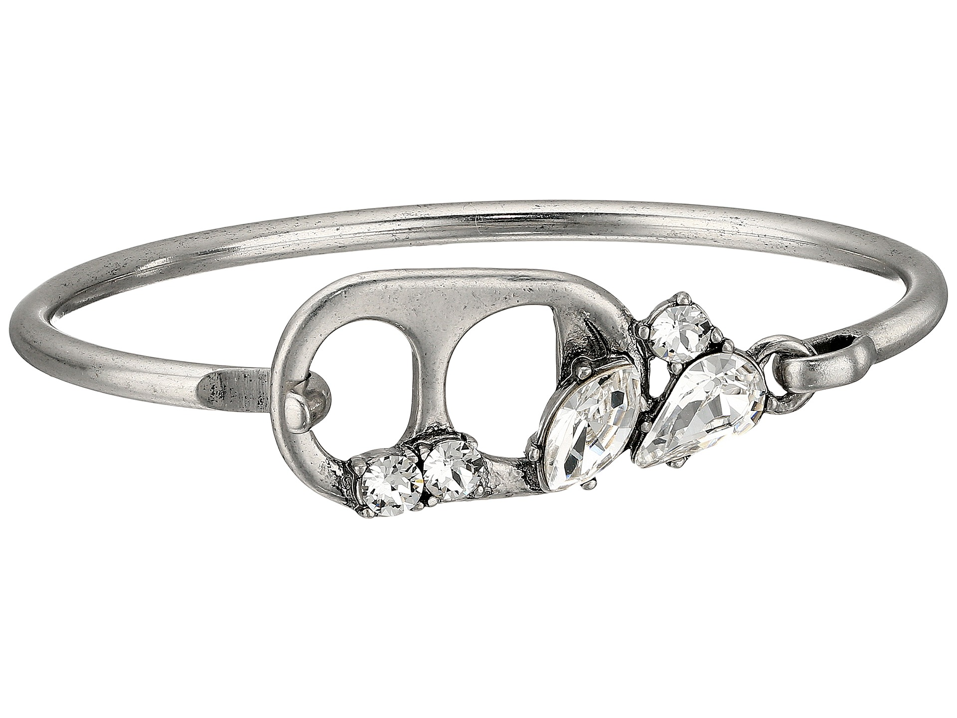 Marc Jacobs Safety Pin Soda Lid Hinge Cuff Bracelet Crystal Antique Silver