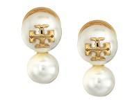 Tory Burch Crystal Pearl Double Stud Earrings - Zappos.com ...