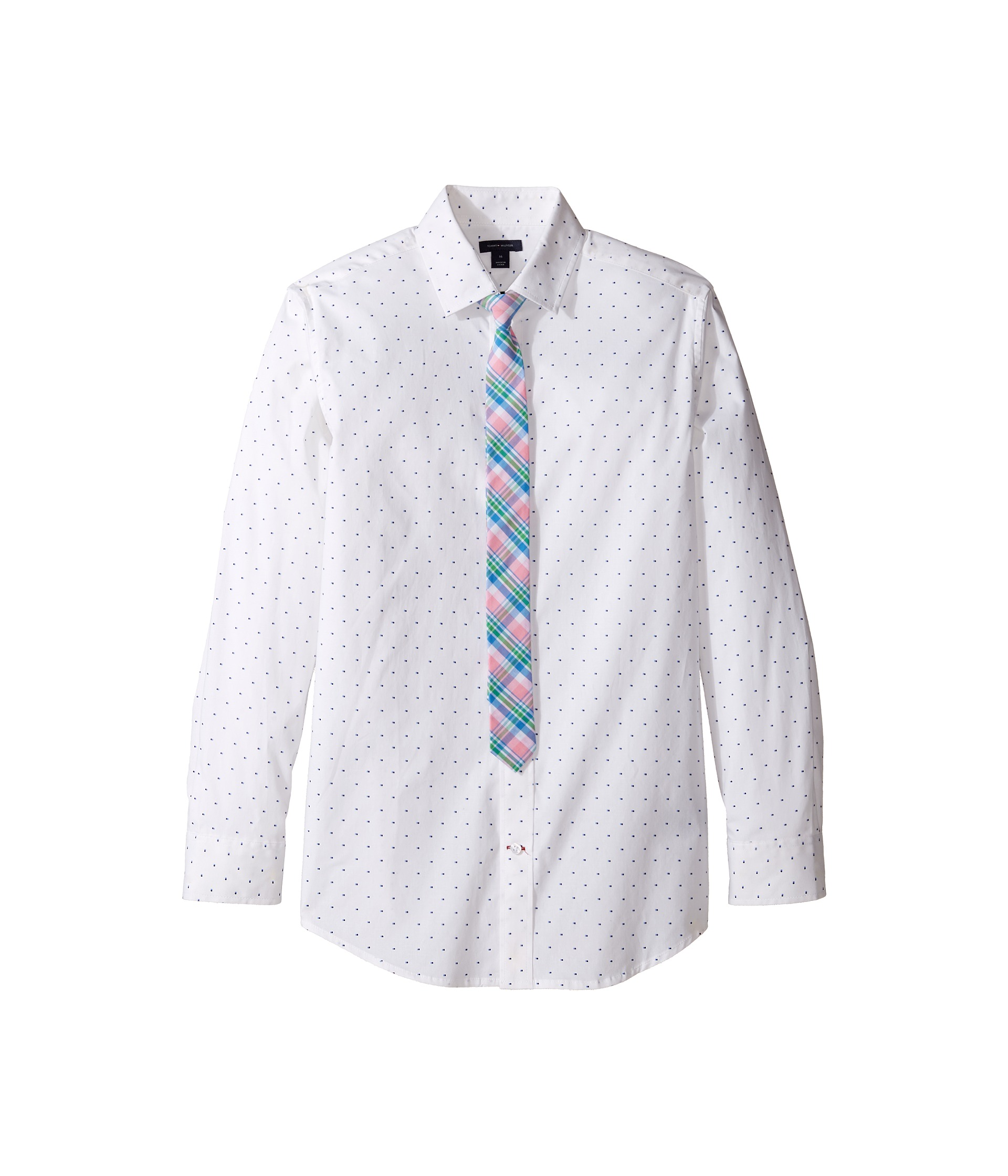 Tommy Hilfiger Kids Long Sleeve Print Shirt with Necktie