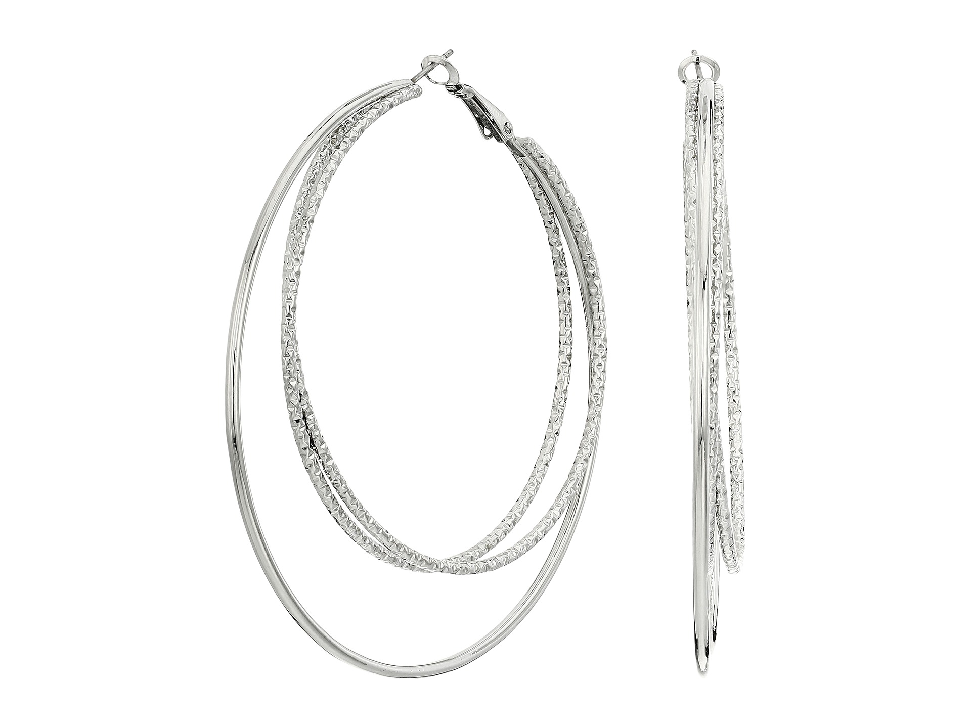 Guess Triple Wire Clutchless Hoop Earrings Silver