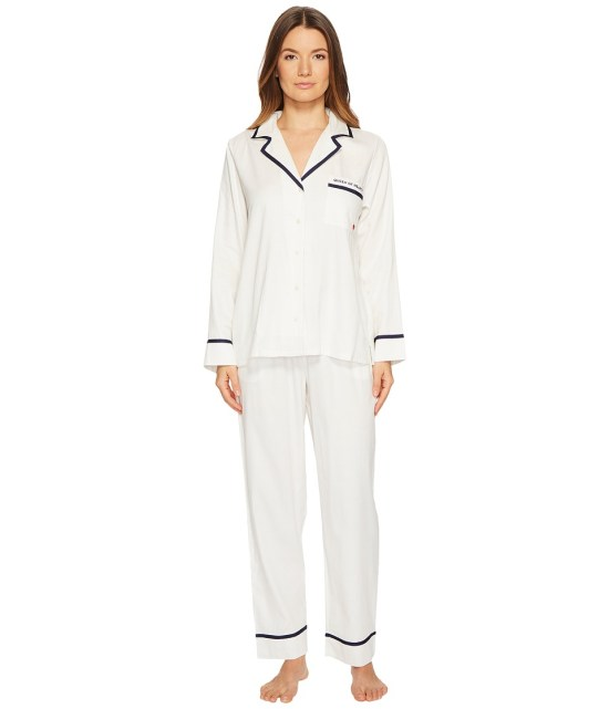 Kate Spade New York - Queen of Hearts Sateen Pajama Set (White) Women's Pajama Sets