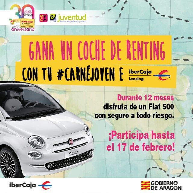 Conducir un Fiat 500 - Participa en el sorteo y gana un Fiat 500 de renting durante un año con todo pagado gracias al CJE de Aragón