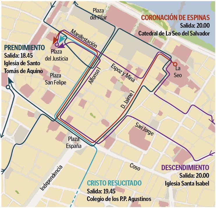 Programa de Semana Santa en Zaragoza 2019 - Recorridos procesiones y vía crucis Jueves Santo media tarde 18 de abril de 2019 en Zaragoza