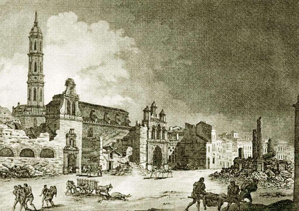 Grabado de la vista de la calle del Coso desde la actual calle Don Jaime I, con tres torretas se ve la iglesia dle convento de San Francisco, con la torre alta también