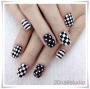 classic black and white nail