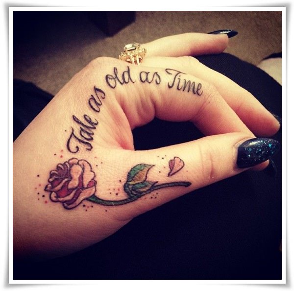 Girls Simple Love Tattoo On Hand