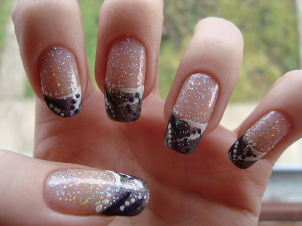 Brown And Gold Glitter French Tip Nail Art Design