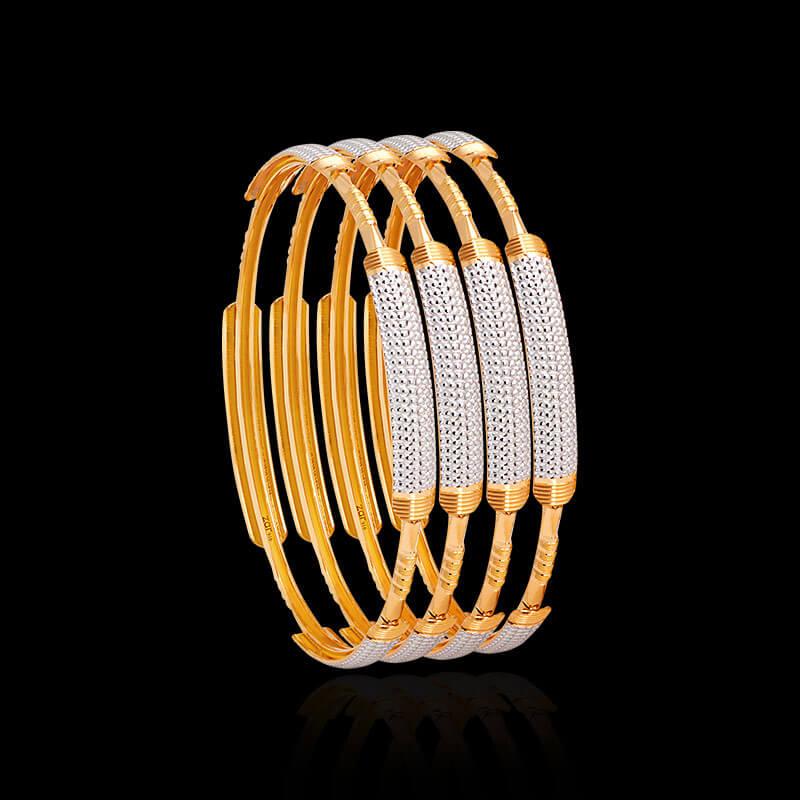 Laser Cut Gold Bangles Online Zar Jewels