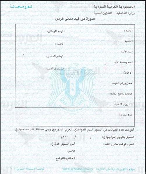 طريقة الحصول على إخراج القيد في سوريا تعريف واستخدام