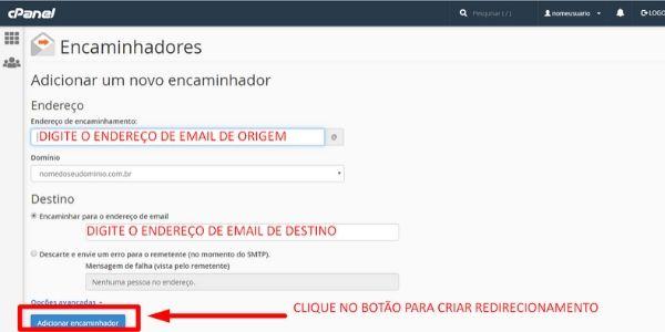 cpanel redirecionar email