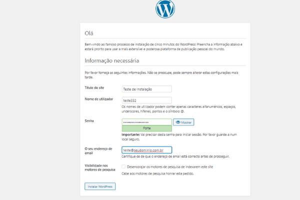acessando o wordpress instalado no cpanel 5